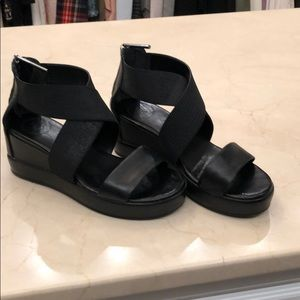 French Connection wedge back zip sandals.